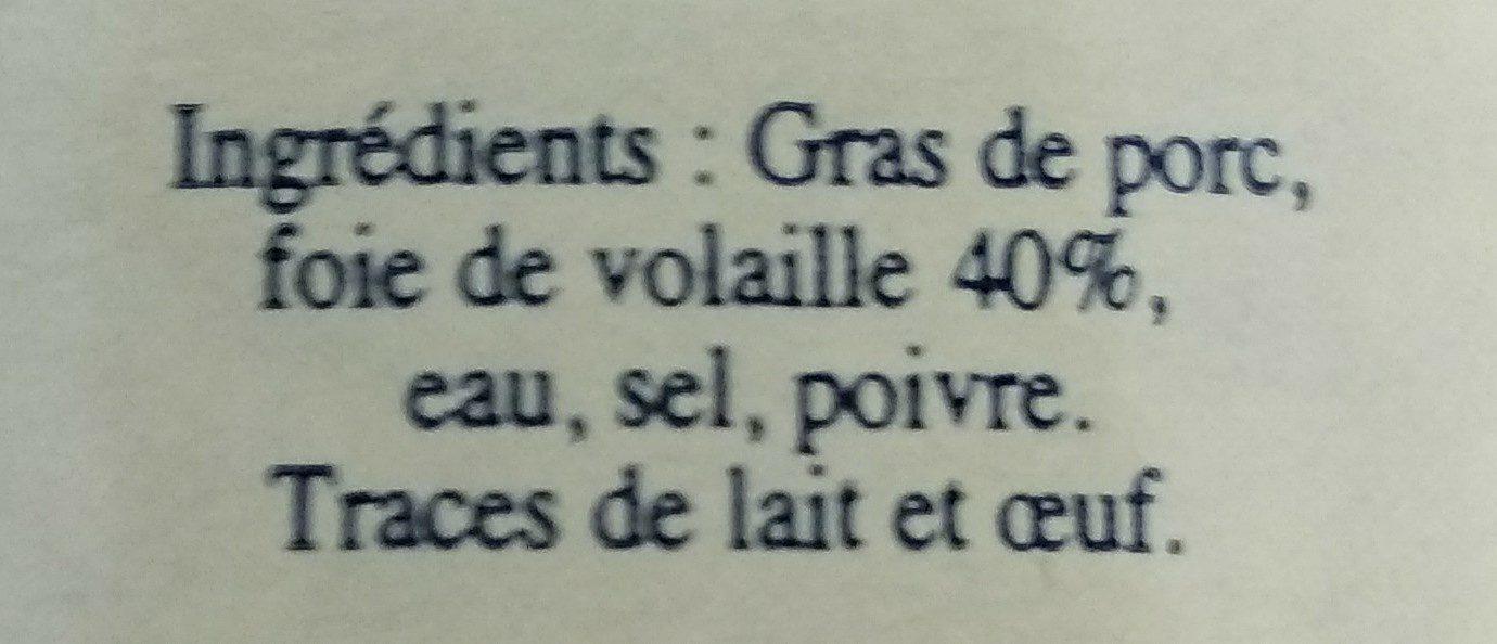 Terrine de Foie de Volaille - Ingrédients