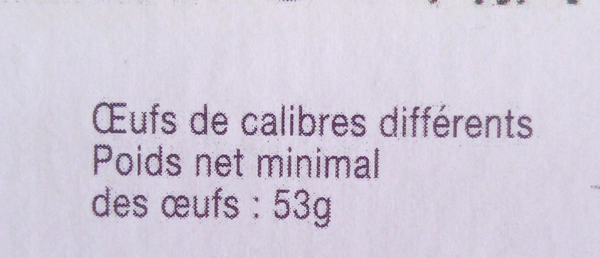 Bio 6 Oeufs Frais De Poules élevées En Plein Air - Auvergne - Ingrediënten