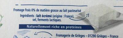 Carrée frais 0% - Ingrediënten