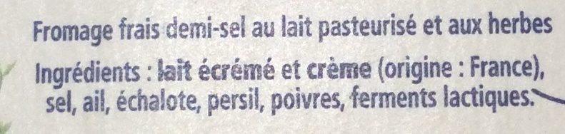 Carré Frais Ail, Fines Herbes & Échalotes Croquantes - Ingredientes