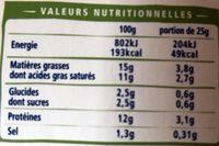 Carré frais bio - Informations nutritionnelles