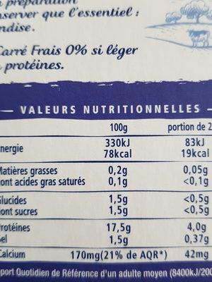 Carré Frais 0% - Nutrition facts