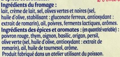Aux Olives Poivron - Thym - Oignon - Origan (31% MG) - Ingrédients