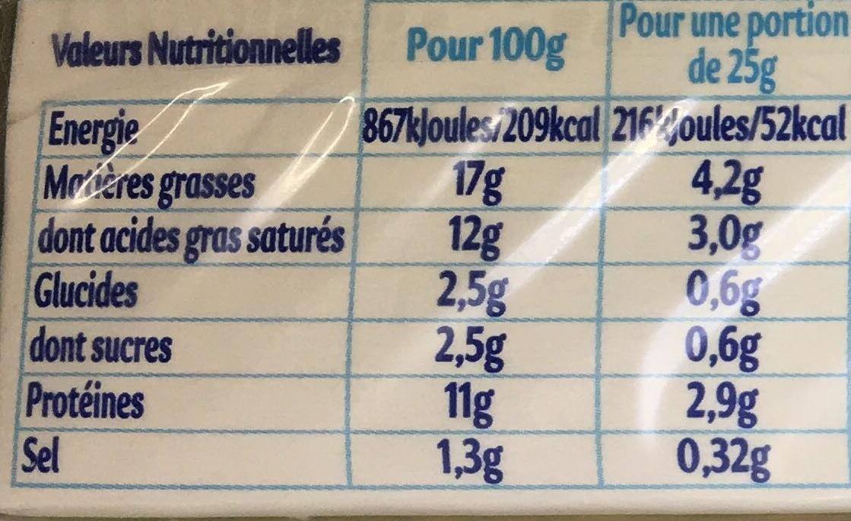 Carré frais - Informations nutritionnelles - fr