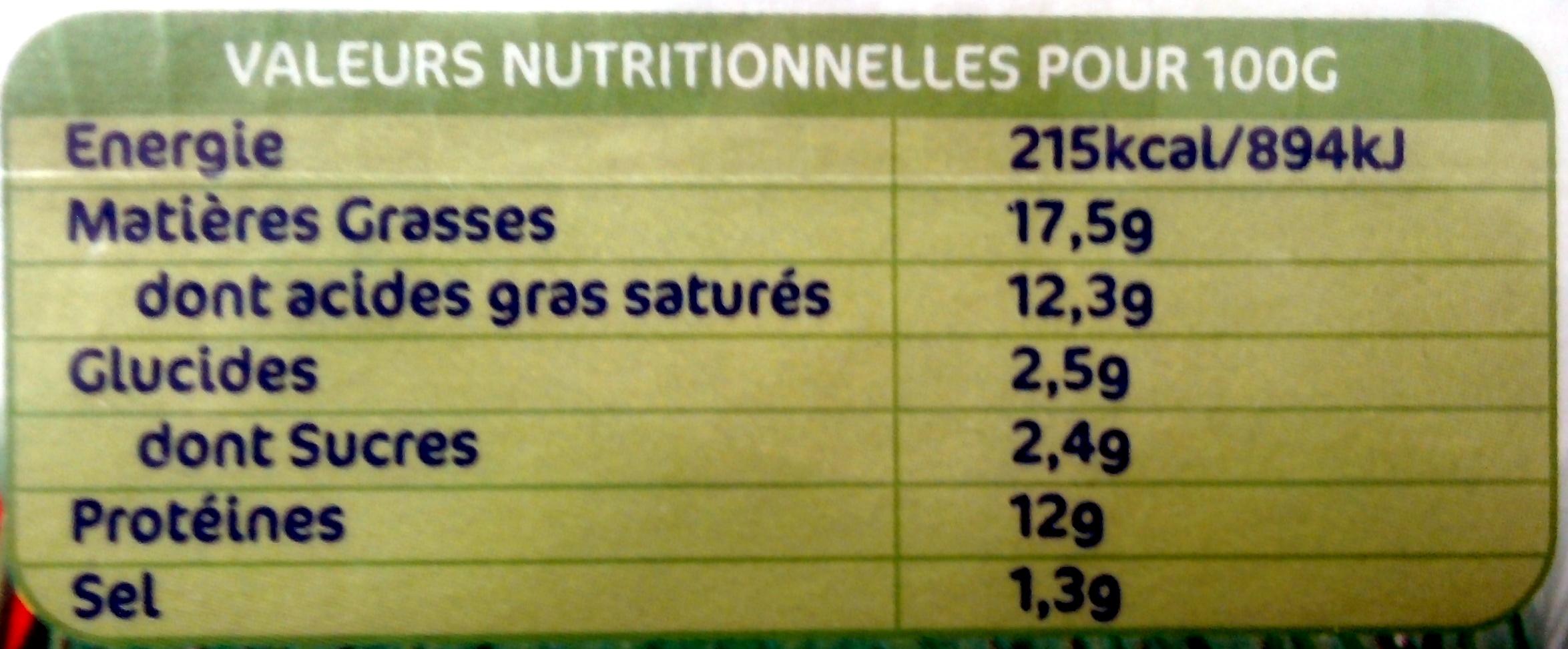 Carré Frais Estragon & Echalote (17,5% MG) - Informations nutritionnelles - fr