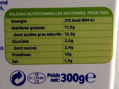 Carré Frais Carrément Généreux - Informations nutritionnelles