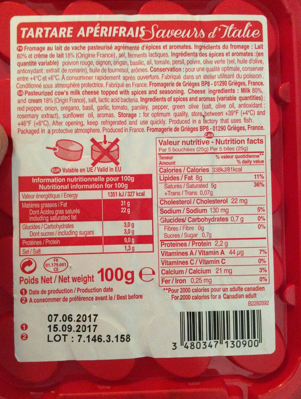 TARTARE APERIFRAIS ITALIE - Ingrediënten