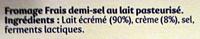 Carré - Fromage frais - Ingredients - fr