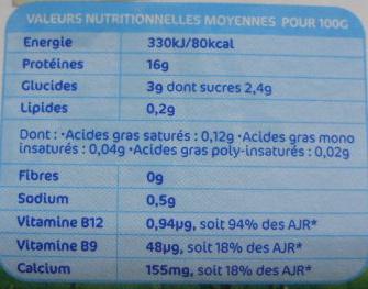 Carré Frais (0% MG) - 200 g - Elle & Vire - Información nutricional