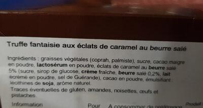 Truffe caramel au beurre salé - Ingrédients - fr