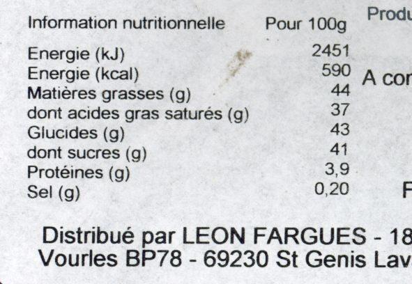 Truffe caramel au beurre salé - Informations nutritionnelles - fr