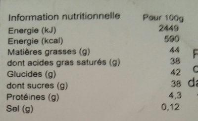 Truffe fantaisie tarte citron - Nutrition facts