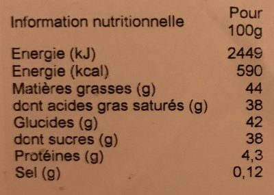 Truffes Fantaisie tarte citron - Nutrition facts