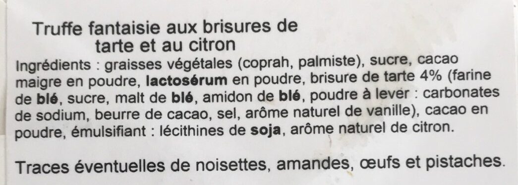 Truffe fantaisie tarte citron - Ingredients