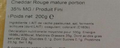 Cheddar Mature - Ingrédients - fr