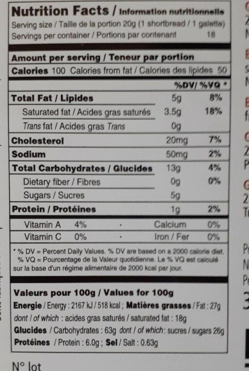 Boite en métal galettes Goulibeur - Nutrition facts - fr