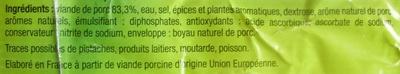 Saucisse Fumée précuite - Ingrédients - fr