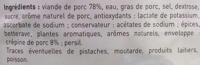 4 crépinettes de porc - Ingrédients