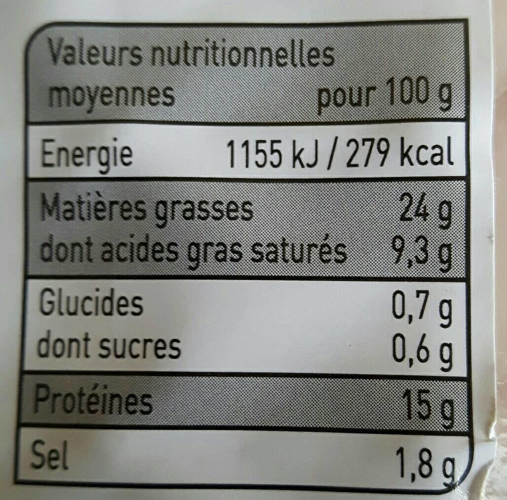 4 saucisses paysannes au fromage - Informations nutritionnelles