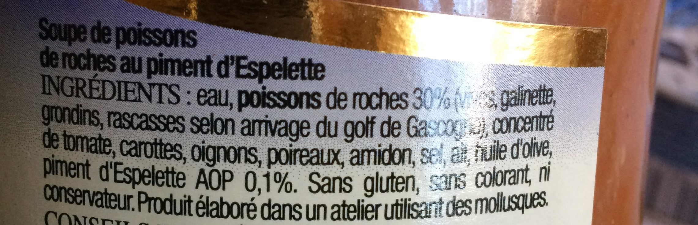Soupe de poissons de roches au piment d'Espelette - Ingrédients - fr