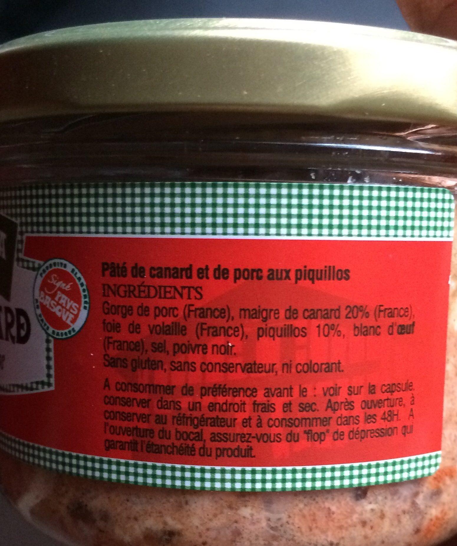 Paté de canard piment espelette - Ingrediënten