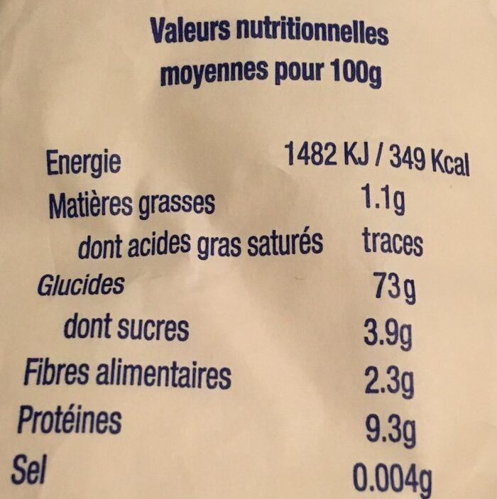Farine de blé T55 - Voedingswaarden - fr