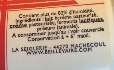 Fromage blanc - Ingrediënten
