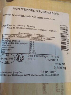 P'tit pain d'épices d'Eugénia - Nutrition facts - fr