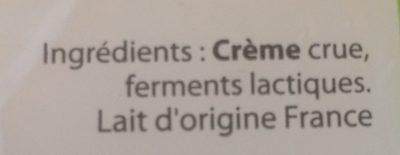 Beurre doux cru à la baratte bois - Ingrédients