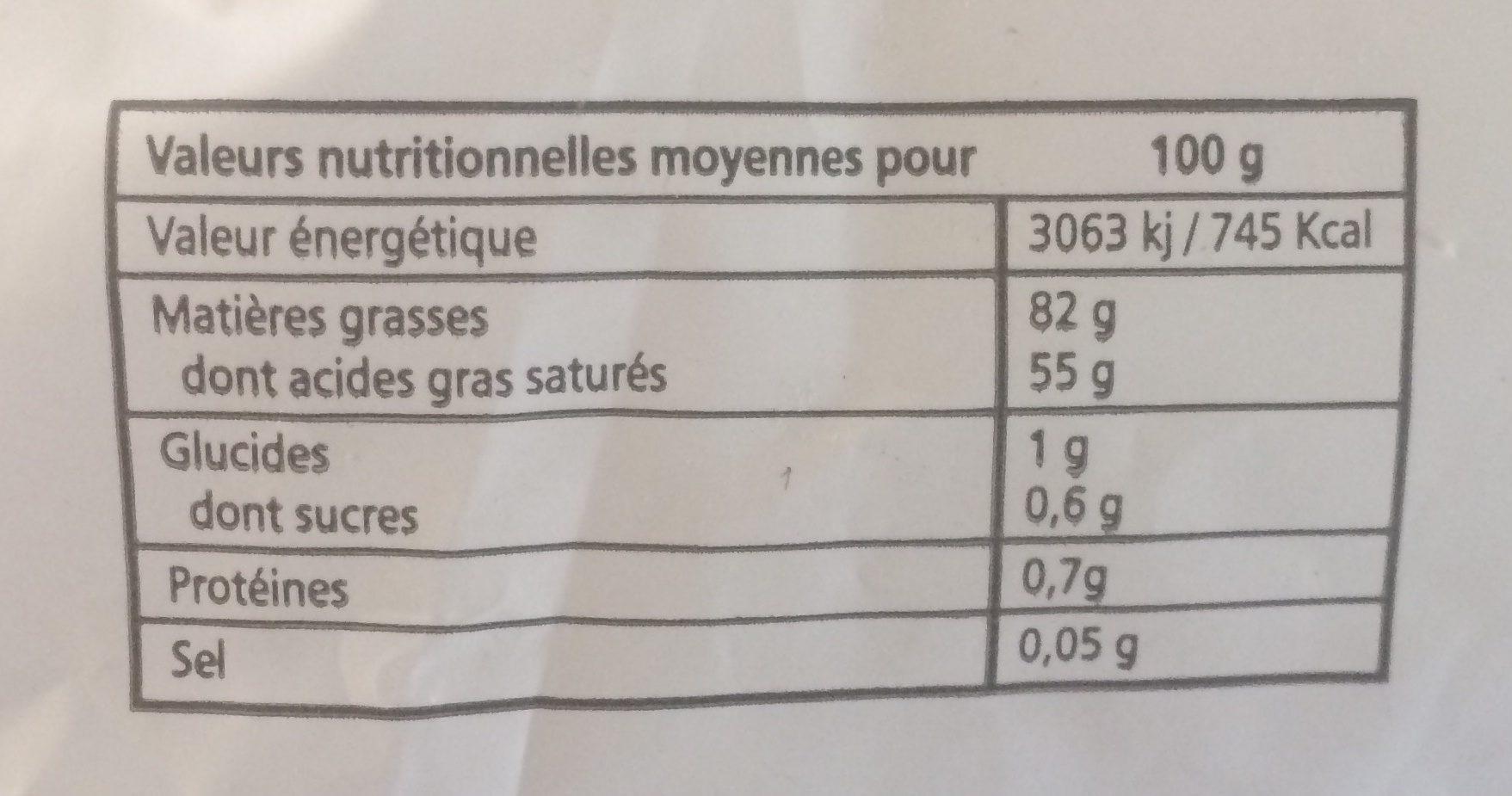 Beurre doux cru à la baratte bois - Informations nutritionnelles
