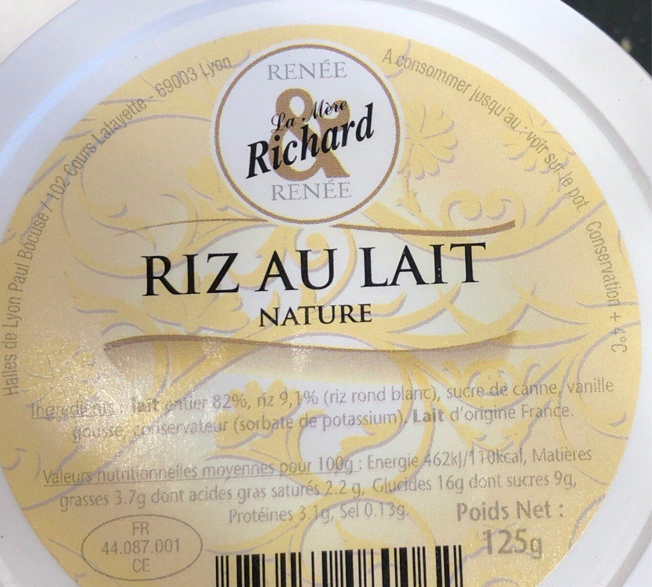 Riz au lait - Voedingswaarden - fr