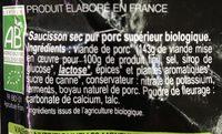 Saucisson Sec Nature - Ingrédients