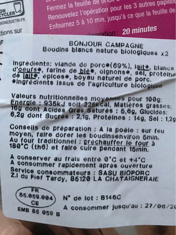 BOUDINS BLANCS NATURE - Informations nutritionnelles - fr