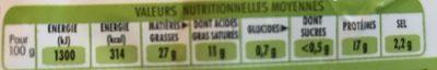 Saucisse Fumés Bio X 2 - Informations nutritionnelles
