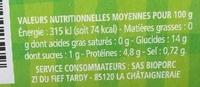 Lentilles cuisinées bio - Valori nutrizionali - fr