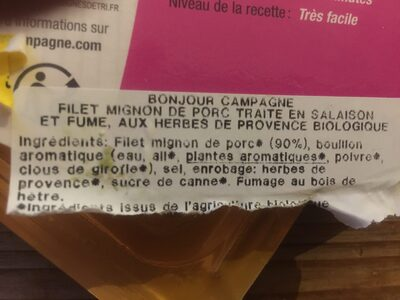 Filet mignon fumé - Ingredienti - fr