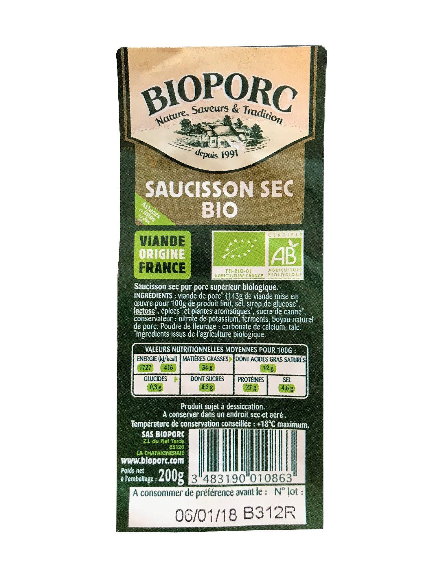 Saucisson Sec Bio - Product