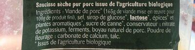 Saucisson Sec Bio - Ingrediënten