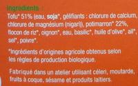 Steak de Tofu Potimarron Bio - Ingrédients