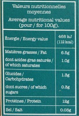 Tofu nature - Informations nutritionnelles - fr