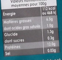 Tofu Nature - Informations nutritionnelles - fr