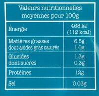 Tofu Nature - Valori nutrizionali - fr