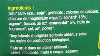 Steaks de Tofu aux épinards et à l'emmental Bio - Ingrédients - fr