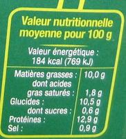 Steaks de Tofu aux épinards et à l'emmental Bio - Informations nutritionnelles - fr