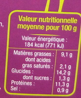 Steaks de Tofu à l'Aubergine et au Parmesan Bio - Informations nutritionnelles