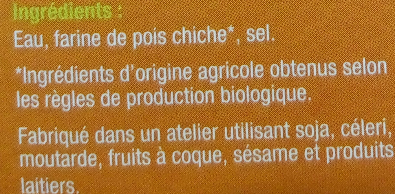 Panisse Nature Bio - Inhaltsstoffe - fr