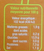 Panisse Nature Bio - Nährwertangaben - fr