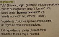 Steak de Tofu Tomate et Chèvre Bio - Ingrédients