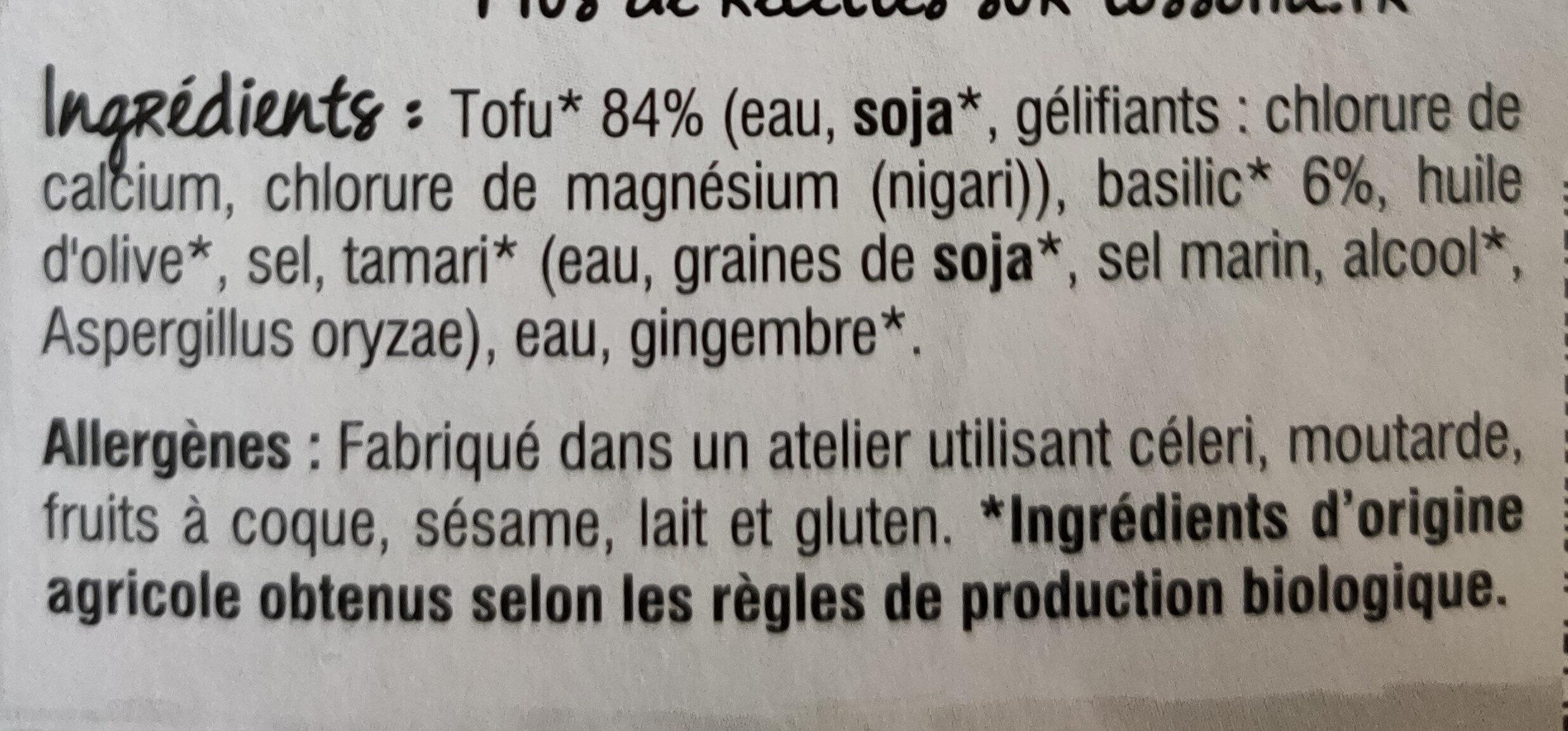 Tofu basilic - Ingrédients - fr