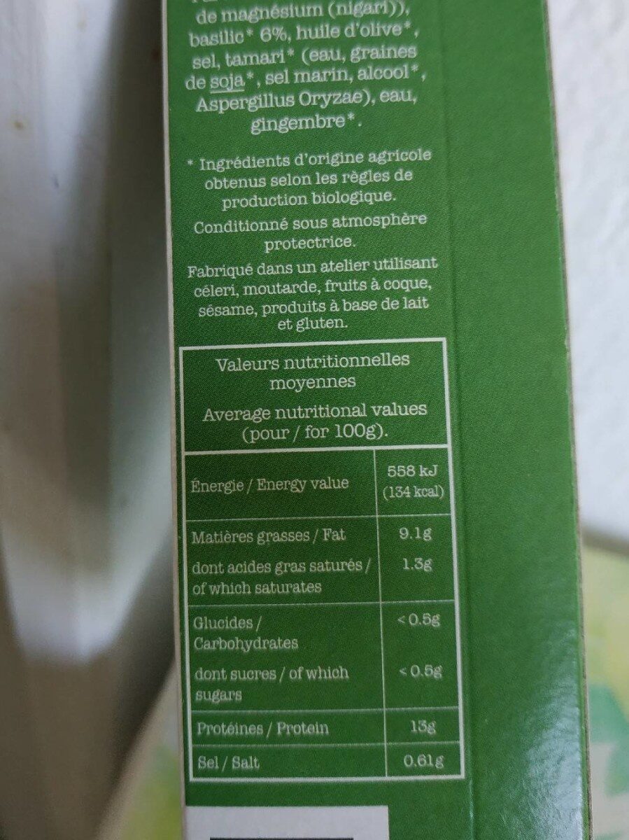 Tofu basilic - Informations nutritionnelles - fr